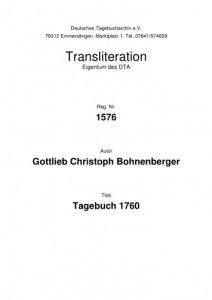 Deckblatt der Transkription