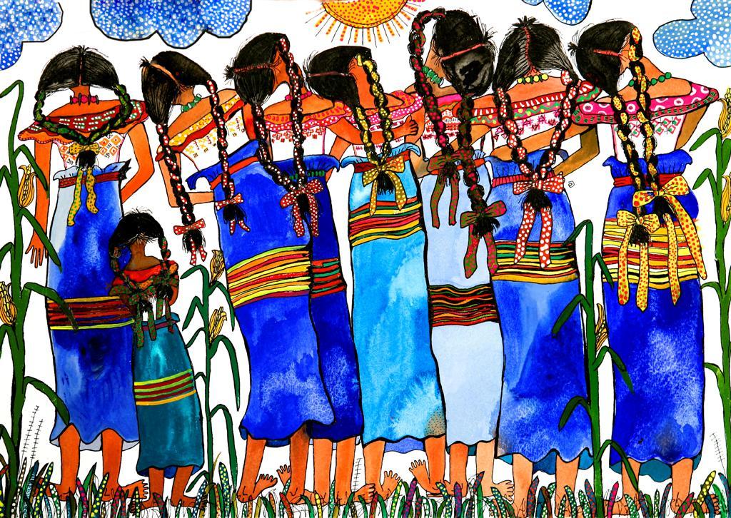 eine farbstarke Zeichnung von nebeneinander tanzendenFrauen