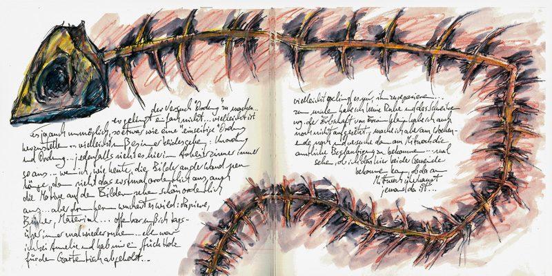 Bild einer Tagebuchseite mit skizzierter Fischgräte